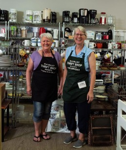 Left to right: Volunteer Pam Huntley and Katrin Taylor, manager and founder of the Elk Valley Thrift Shop