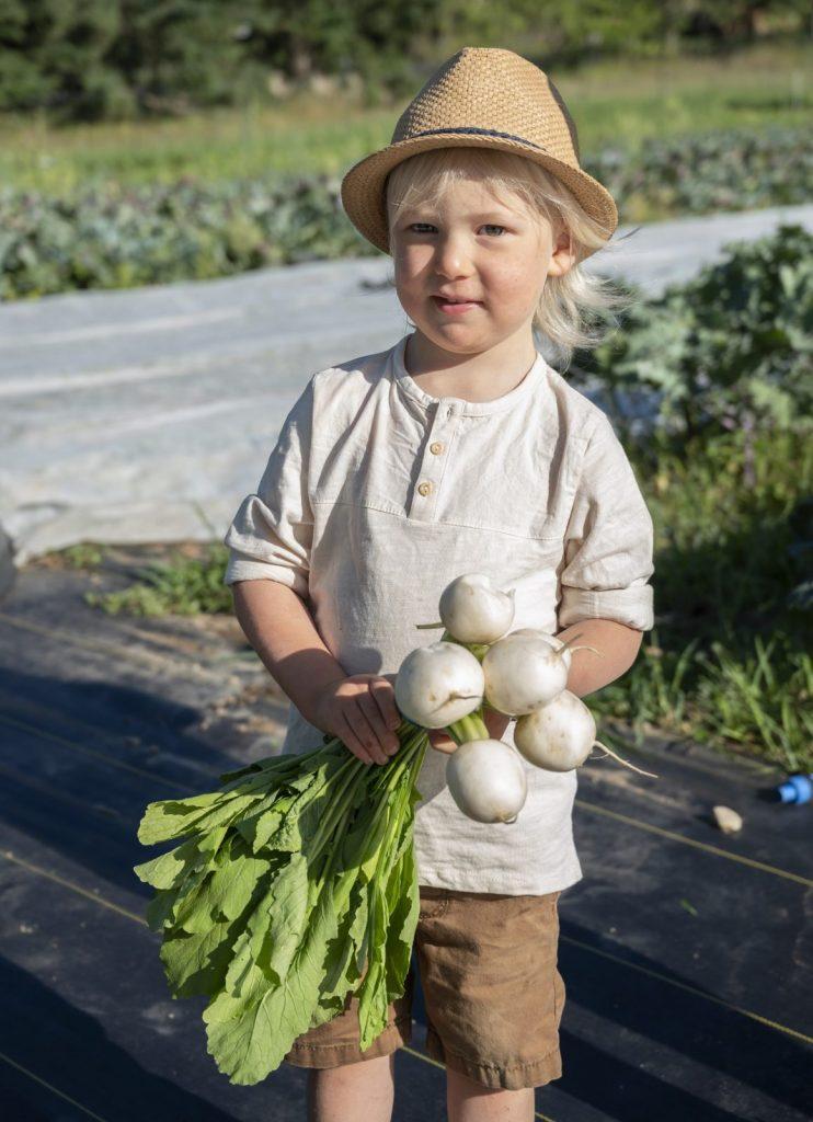 boy at cartwheel farms holding vegetables